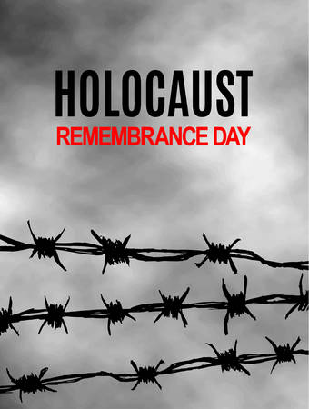 We Will Never Forget. Holocaust Remembrance Day. International Day of Fascist Concentration Camps and Ghetto Prisoners Liberation card. Wire with spikes on grey sky background. Vector illustration Фото со стока - 108066745