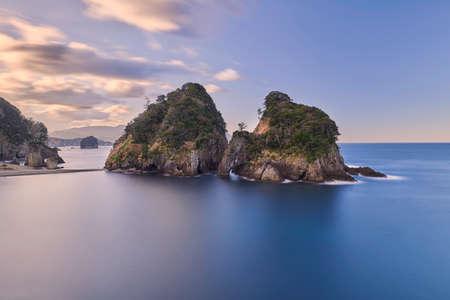 winter sunrise: Morning sea and rock formations at Futo coast, Shizuoka Prefecture, Japan