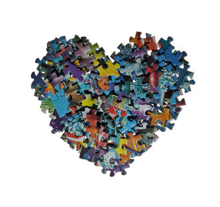 heart made from the puzzle , isolated Stock Photo