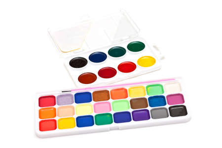 paintbox: photo of set watercolor on white background