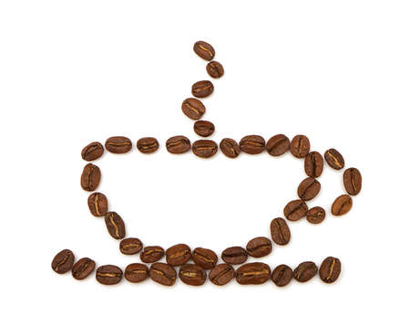 cup made ​​from coffee beans on white background Stock Photo - 11141578
