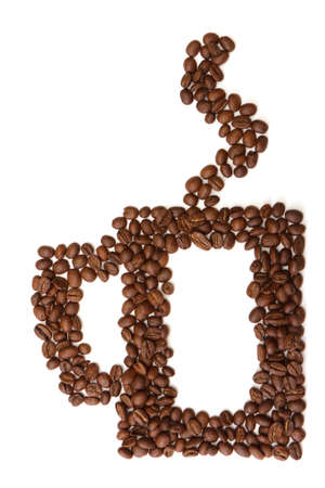cup made ​​from coffee beans on white background Stock Photo - 11141583