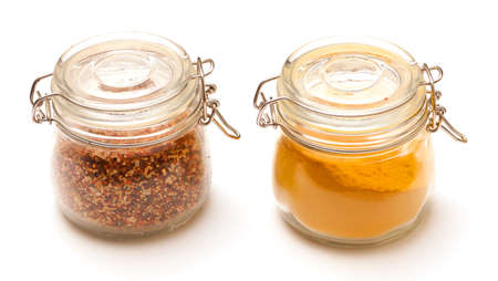 peppar: photo of multi-colored spices on white background Stock Photo