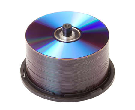 discs: Tower of cds on white background