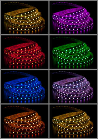 Collage of glowing LED garland on black background Фото со стока