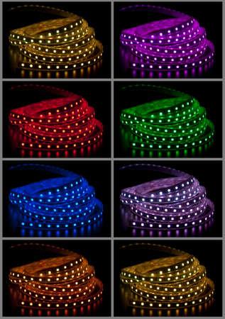 Collage of izzó LED füzér fekete háttér