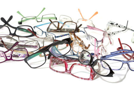 a lot of glasses on white background Stock Photo