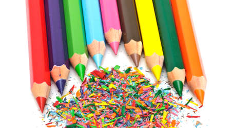 set of colored pencils on white background photo