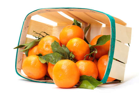 fresh tangerines in a basket on white background photo