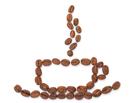 cup made from coffee beans on white background photo
