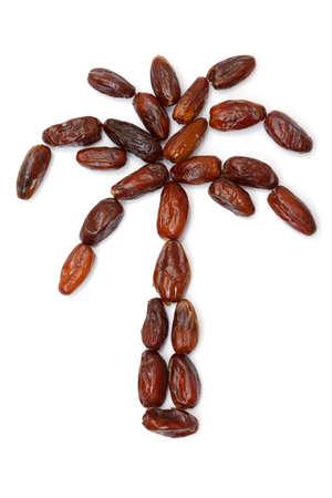 dattes: forme de palme � partir de dates sur fond blanc