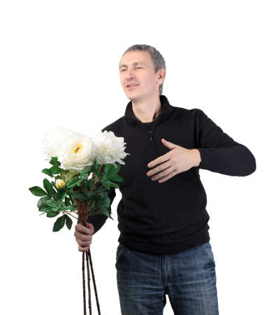 Man holding a bouquet of flowers on white background Stock Photo - 12229136