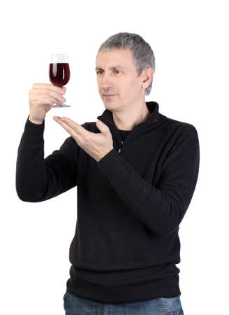 Man holding a glass of red port wine, on white background photo