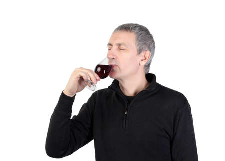 tries: Man tries a glass of red port wine, on white background