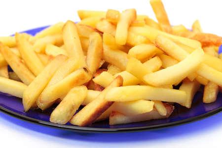 fried potatoes on blue plate Stock Photo - 12673040