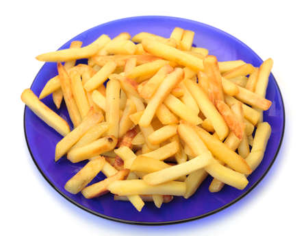 fried potatoes on blue plate Stock Photo - 12673038