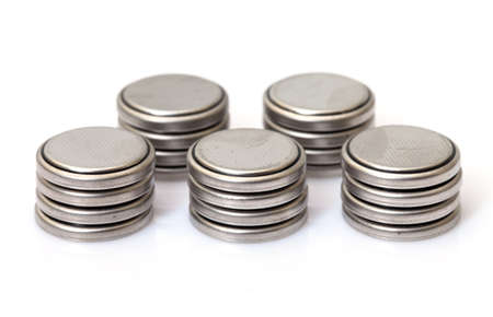 Coin Lithium batteries, on white background photo