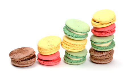 Colorful Macaroon on white background photo