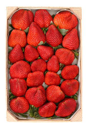 Heap red strawberries in the wooden box photo