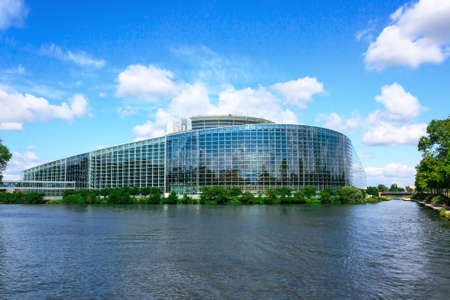 European parliament building in Strasbourg, view from the river