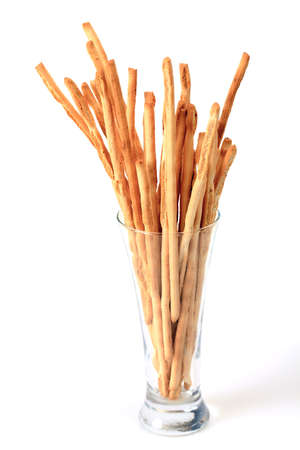 breadstick: Breadsticks in glass isolated over white background Stock Photo