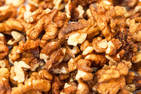 purified: Heap Purified Walnuts closeup