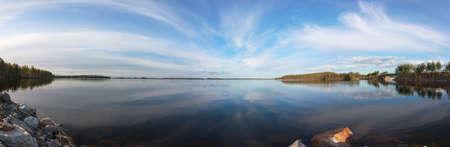 Beautiful Panorama over a Blue Lake and Sky Stock Photo - 13735036