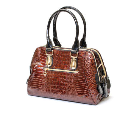 Brown Leather Ladies Handbag on white background  photo