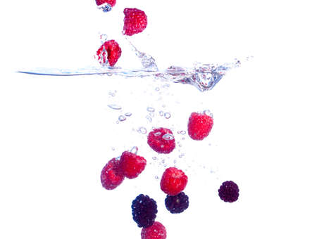Berries Falls under Water with a Splash, isolated