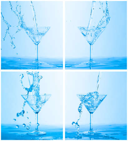 Collage of Water Splashing in a Wineglass, on blue background photo
