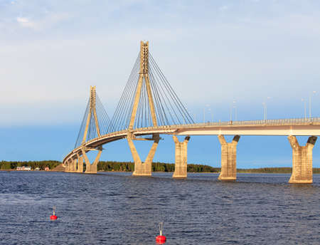 Cable-Stayed Bridge of Raippaluoto around Vaasa, Finland Фото со стока