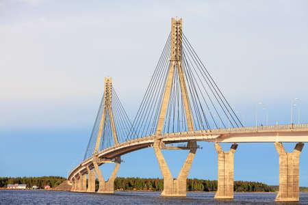 Cable-Stayed Bridge of Raippaluoto around Vaasa, Finland Stock Photo