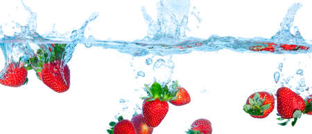 Collage Fresh Strawberry Dropped into Water with Splash on white backgrounds