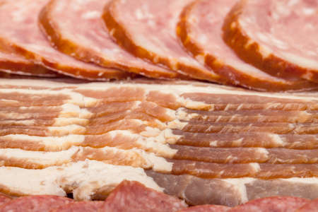 Assorted Slice Sausage and Bacon, closeup Stock Photo - 14214264