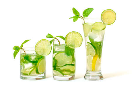 Mojito Cocktail in a Glass Beaker, on white background photo