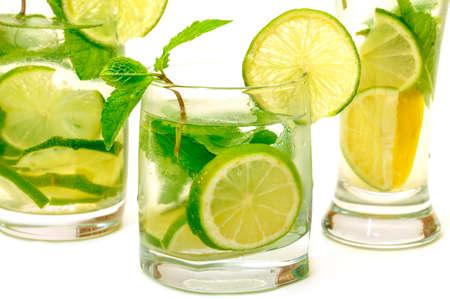 Mojito Cocktail in a Glass Beaker, closeup photo