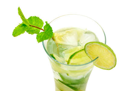 Mojito Cocktail in a Glass Beaker, closeup Stock Photo