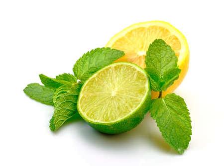Fresh Lemon, Lime and Mint, isolated on white background photo