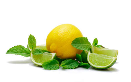 Fresh Lemon, Lime and Mint, on white background