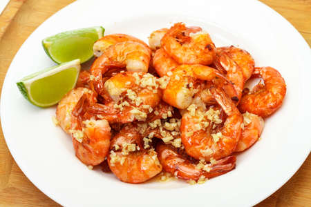 prepared shrimp: Fried King Prawns Served in Plate, closeup