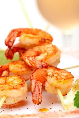 Fried King Prawns Served in Plate, closeup on white background photo