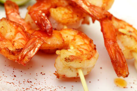 Fried King Prawns Served in Plate, closeup