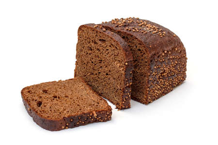 Sliced Rye Bread on white background