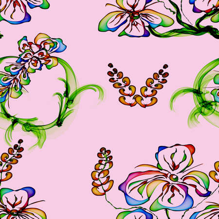 Floral Stylish Wallpaper, Seamless Pattern, Hand-drawn photo