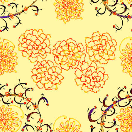 Floral Stylish Wallpaper, Seamless Pattern, Hand-drawn photo