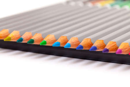 Multicolored Pencil, Arrangement in Row over white photo