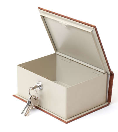 Empty Safe Box on white background photo