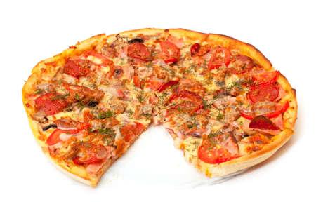 Baked Sliced Pizza, on white background  photo