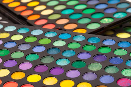 Set of Multicolored Eyeshadows, macro photo