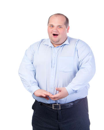 Fat Man in a Blue Shirt, Singing a Song, isolated photo
